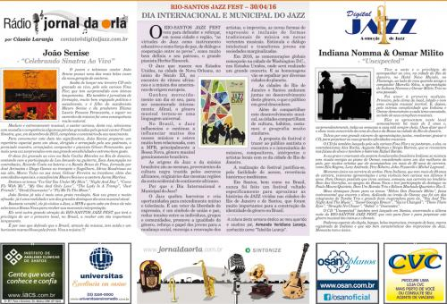 RIO-SANTOS JAZZ FEST – 30/04/16 - DIA INTERNACIONAL E MUNICIPAL DO JAZZ
