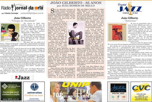 JOÃO GILBERTO - 85 ANOS - por ZUZA HOMEM DE MELLO